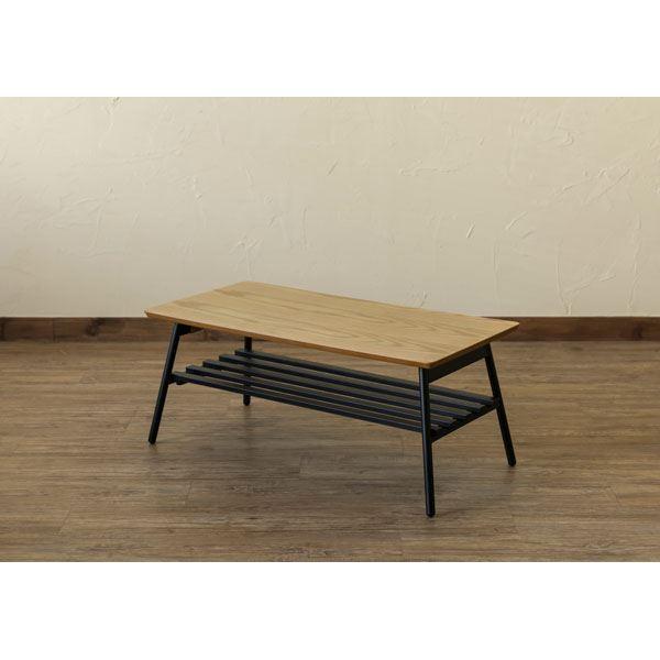 【送料無料】棚付き折れ脚テーブル Luster 80 オーク(OAK)【代引不可】