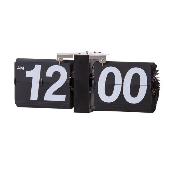 フリップクロック/デザイン時計 〔ブラック〕 掛け型・置き型対応 幅36cm×奥行8.5cm×高さ14cm CLK-118BK【代引不可】【北海道・沖縄・離島配送不可】