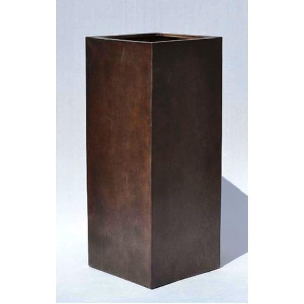 【送料無料】木目調樹脂製鉢カバー MOKU クアドラ H82cm【代引不可】