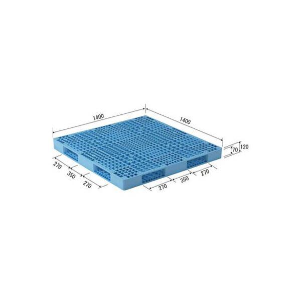 【送料無料】三甲(サンコー) プラスチックパレット/プラパレ 〔両面使用型〕 段積み可 R4-1414 ライトブルー(青)【代引不可】
