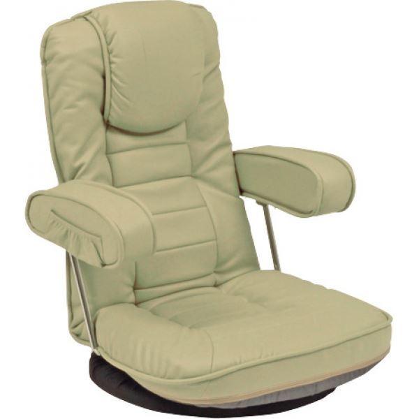 リクライニング回転座椅子 肘掛け 背部14段リクライニング/頭部枕付/肘部跳ね上げ式 ライトグレー【代引不可】