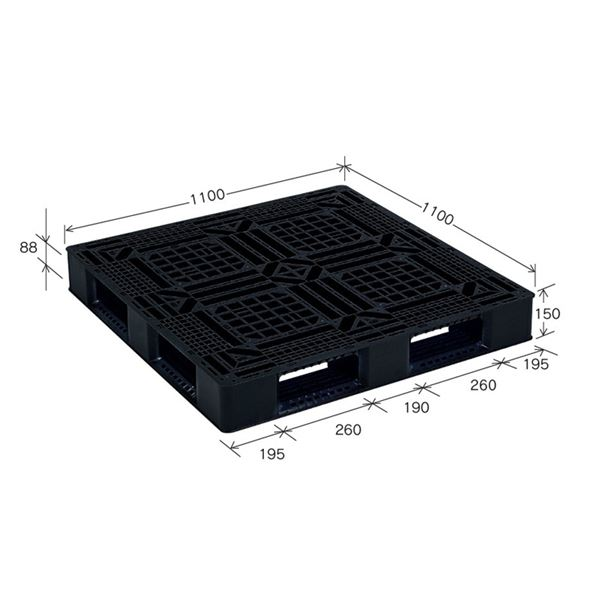 〔10枚セット〕 樹脂パレット/軽量パレット 〔JL-D4・1111G〕 ブラック 材質:再生PP 安全設計【代引不可】【北海道・沖縄・離島配送不可】