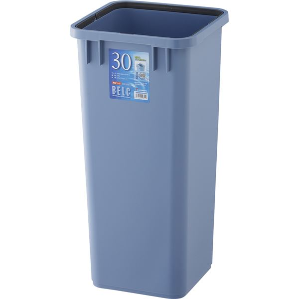 〔12セット〕 ダストボックス/ゴミ箱 〔30S 本体〕 ブルー 角型 『ベルク』 〔家庭用品 掃除用品 業務用〕【代引不可】