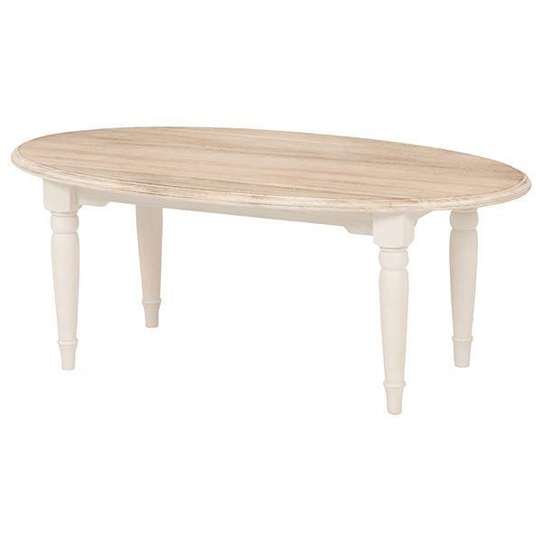 【送料無料】センターテーブル/ローテーブル 〔楕円形〕 幅90cm 『ブロカントシリーズ』 木製 シャビーシック ホワイト(白) 【代引不可】