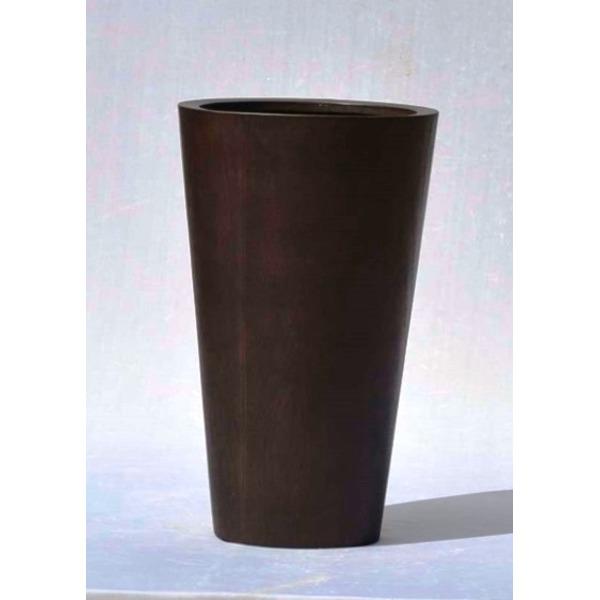 【送料無料】木目調樹脂製鉢カバー MOKU ラウンド 33xH54cm【代引不可】