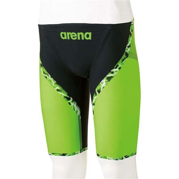 【送料無料】デサント ARENA(アリーナ) AQUAFORCE LIGHTNING ジュニアハーフスパッツ ARN6001MJ ブラック×ブラック×Fグリーン×ブラック R150【代引不可】