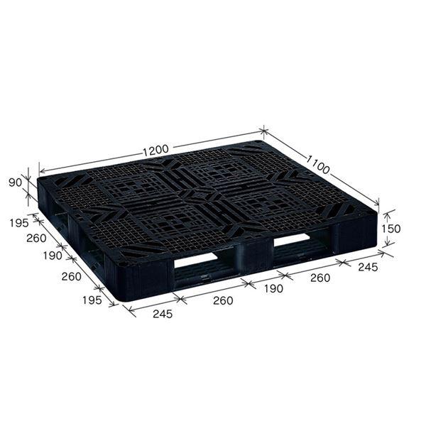 ブラックパレット/樹脂パレット 〔J-D4・1211〕 メッシュ構造 再生材利用【代引不可】【北海道・沖縄・離島配送不可】