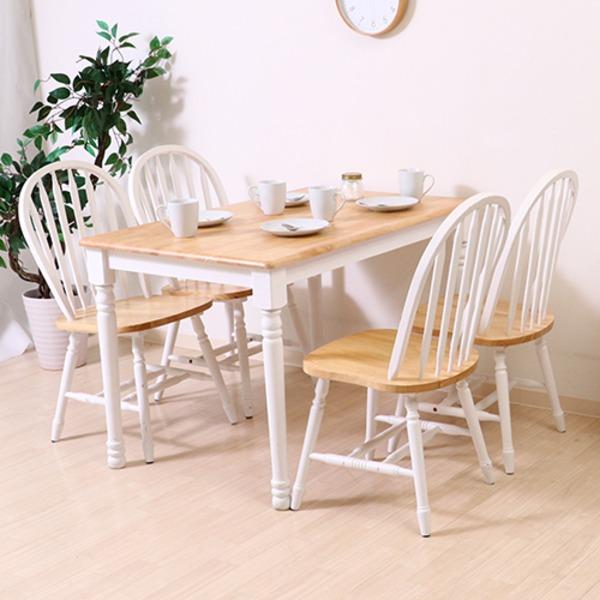 【送料無料】ダイニングテーブル/リビングテーブル 単品 〔ホワイト×ナチュラル 幅113.5cm〕 木製 『マキアート』 【代引不可】