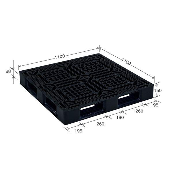 樹脂パレット/軽量パレット 〔JL-D4・1111G〕 ブラック 材質:再生PP 安全設計【代引不可】【北海道・沖縄・離島配送不可】