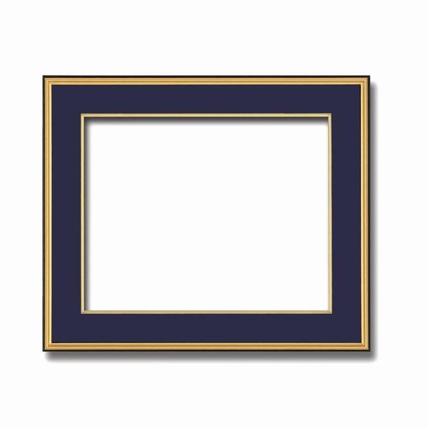 【送料無料】〔和額〕黒い縁に金色フレーム 日本画額 色紙額 木製フレーム ■黒金 色紙F10サイズ(530×455mm) 紺【代引不可】