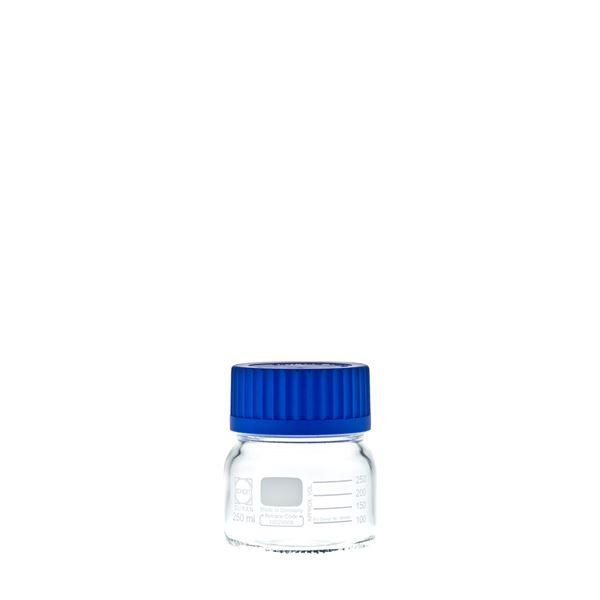 【送料無料】〔柴田科学〕ねじ口びん 広口 青キャップ付 250mL〔10個〕【代引不可】