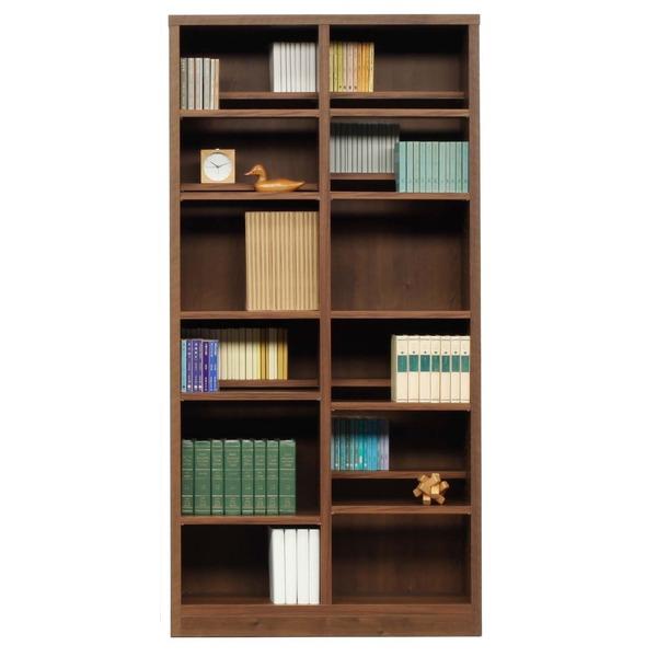 【送料無料】本棚/ブックシェルフ 〔幅90cm〕 高さ180cm 可動棚板16枚付き 木目調 日本製 ブラウン 〔完成品〕【代引不可】