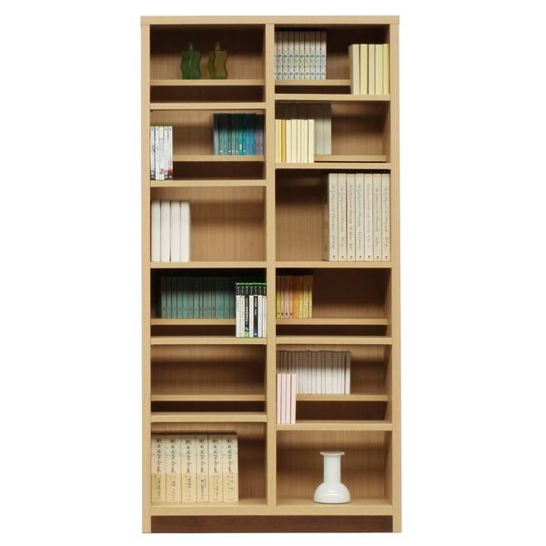 【送料無料】本棚/ブックシェルフ 〔幅90cm〕 高さ180cm 可動棚板16枚付き 木目調 日本製 ナチュラル 〔完成品〕【代引不可】