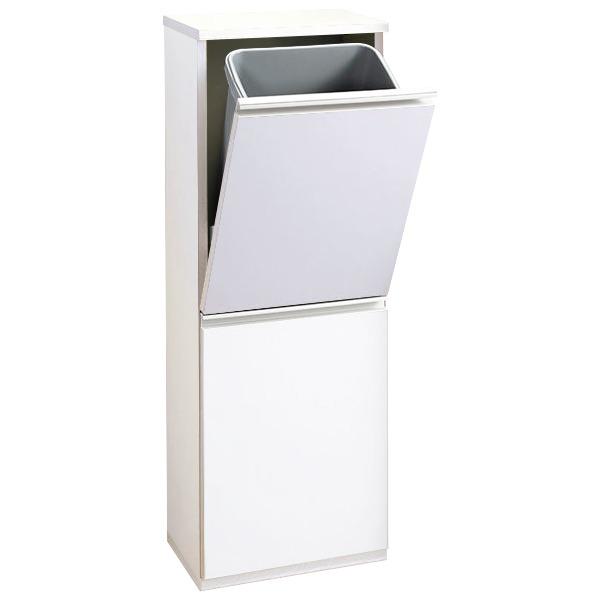 【送料無料】薄型ダストボックス 〔幅35cm〕 ホワイト【代引不可】