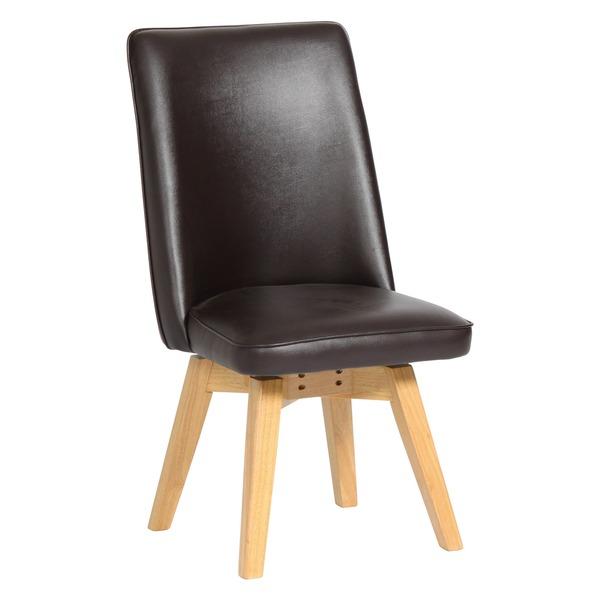 【送料無料】ダイニングチェア(回転式椅子) ナチュラル 『バター』ムール 木製脚 張地:合成皮革/合皮 座面高43cm【代引不可】