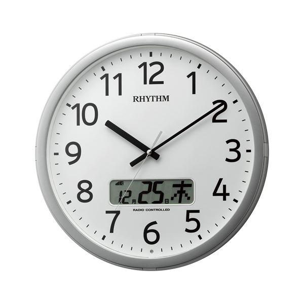 リズム時計工業 電波掛時計 プログラムカレンダー01SR 4FNA01SR19【代引不可】