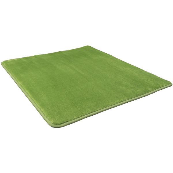 【送料無料】低反発 ラグ モスグリーン 緑 極厚 2畳 200×200 正方形 〔やさしいフランネル防音低反発ラグ〕 遮音 防音マット ノンホル ラグマット【代引不可】