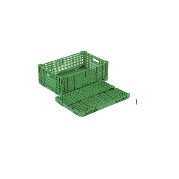 〔10個セット〕 折りたたみコンテナー/オリコン 〔RS-MM38〕 グリーン 材質:PP ワンタッチ組立【代引不可】