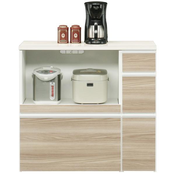 【送料無料】キッチンカウンター 幅100cm 二口コンセント/スライドテーブル/引き出し付き 日本製 ブラウン 〔完成品〕【代引不可】
