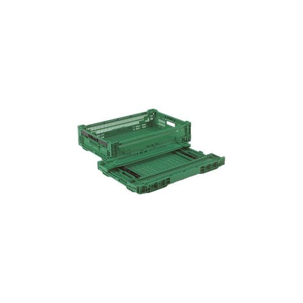 〔5個セット〕 折りたたみコンテナー/オリコン 〔RS-MM24S〕 グリーン 材質:PP ワンタッチ組立【代引不可】