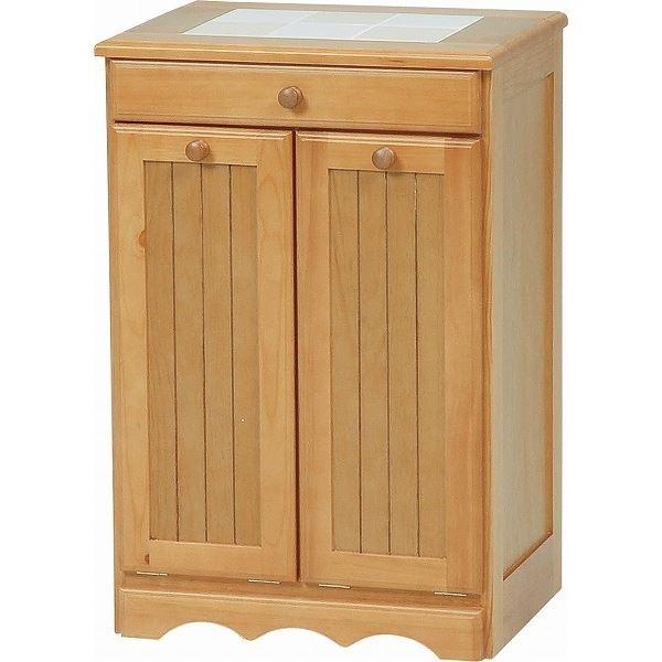 ダストボックス 木製おしゃれゴミ箱 2分別 15Lペール2個/キャスター付き ナチュラル 〔完成品〕 【代引不可】