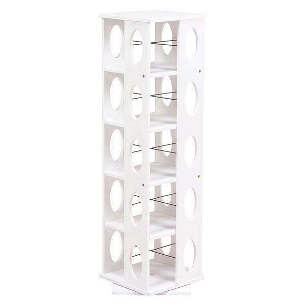 【送料無料】360度回転ラック(本棚/CDラック) ホワイト(白) 高さ120cm 転倒防止ベルト付き【代引不可】
