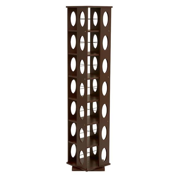 【送料無料】360度回転ラック(本棚/CDラック) ブラウン 高さ167cm 転倒防止ベルト付き【代引不可】
