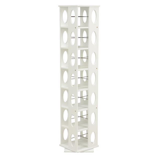【送料無料】360度回転ラック(本棚/CDラック) ホワイト(白) 高さ167cm 転倒防止ベルト付き【代引不可】