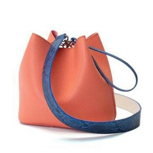 カラフル5色♪柔らか素材の巾着型2Wayショルダーバッグ/オレンジ【代引不可】