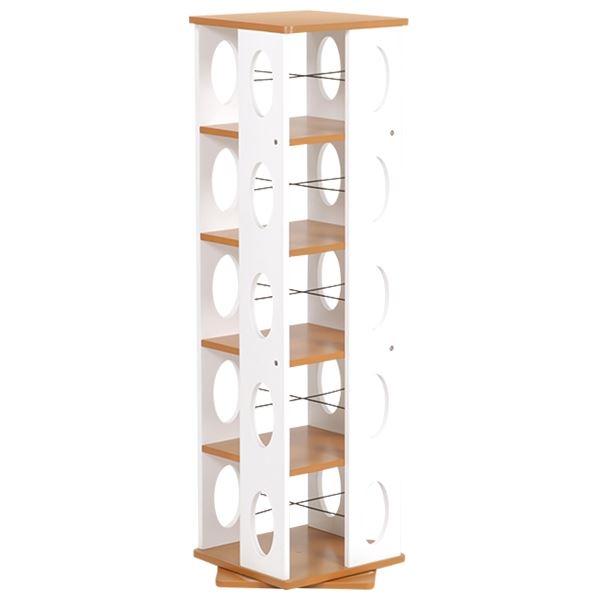 【送料無料】回転ラック(本棚/ブックシェルフ) 5段 高さ120cm 大容量 スリム ホワイト(白) 〔本収納/CD収納〕【代引不可】