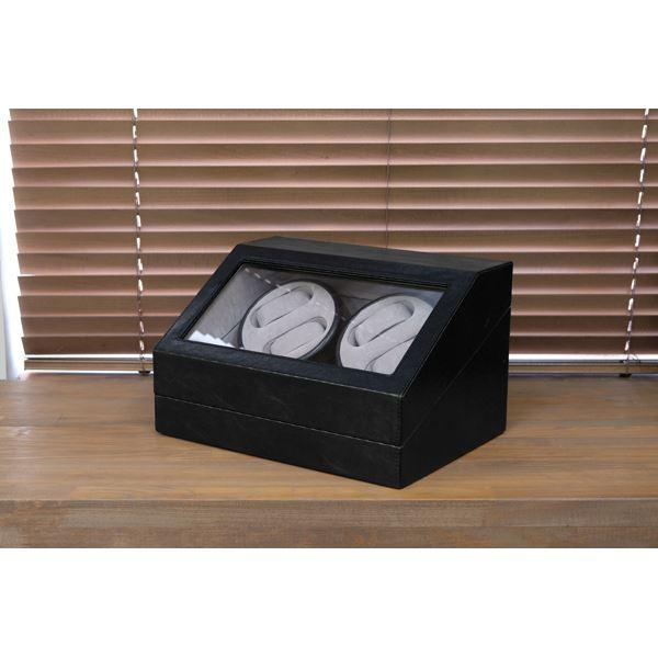 【送料無料】腕時計用 ワインディングマシーン 〔4本巻 ブラック〕 幅34cm 電源スイッチ アダプター 脚付き 〔完成品〕【代引不可】