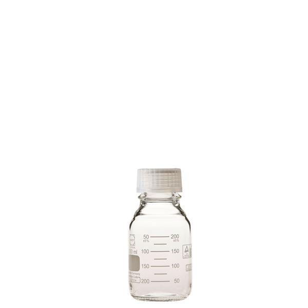 〔柴田科学〕プレミアムボトル(メジュームびん) 白キャップ付 250mL〔10個〕【代引不可】【北海道・沖縄・離島配送不可】