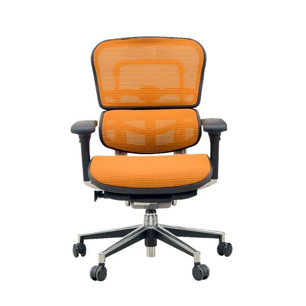【送料無料】オフィスチェア アームレスト付き ランバーサポート付き Ergohuman Basic(エルゴヒューマンベーシック) ロータイプ オレンジ【代引不可】