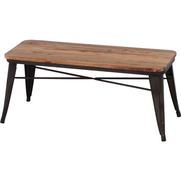 【送料無料】北欧調 ベンチ/スチールベンチ 〔ブラウン×ナチュラル〕 幅111cm スチール 木製 〔什器 カフェ〕 【代引不可】