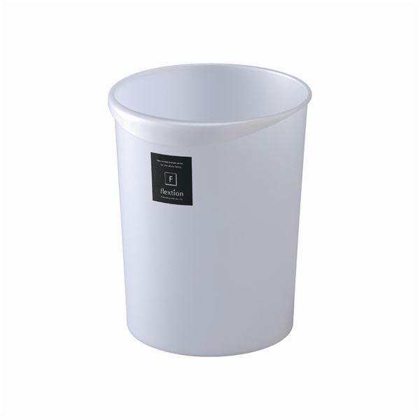 〔40セット〕 スタイリッシュ ダストボックス/ゴミ箱 〔丸型 8L MW メタリックホワイト〕 材質:PP 『Nフレクション』【代引不可】【北海道・沖縄・離島配送不可】