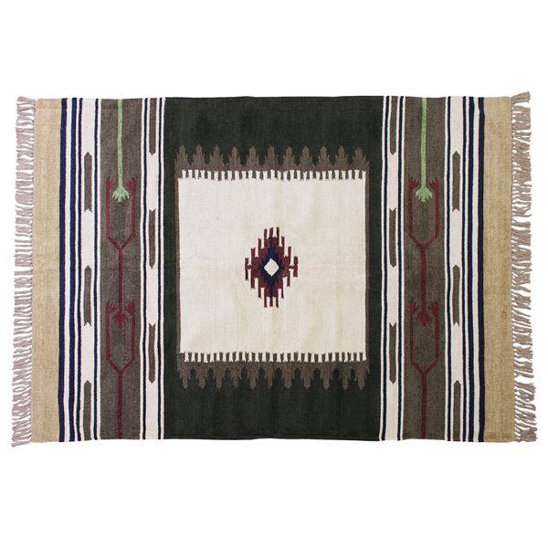 【送料無料】キリムラグマット/絨毯 〔190cm×130cm〕 長方形 ビスコース コットン TTR-106A【代引不可】