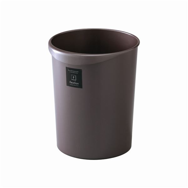 〔32セット〕 スタイリッシュ ダストボックス/ゴミ箱 〔丸型 12L パールショコラ〕 材質:PP 『Nフレクション』【代引不可】【北海道・沖縄・離島配送不可】