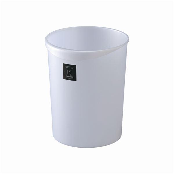 〔24セット〕 スタイリッシュ ダストボックス/ゴミ箱 〔丸型 18L メタリックホワイト〕 材質:PP 『Nフレクション』【代引不可】