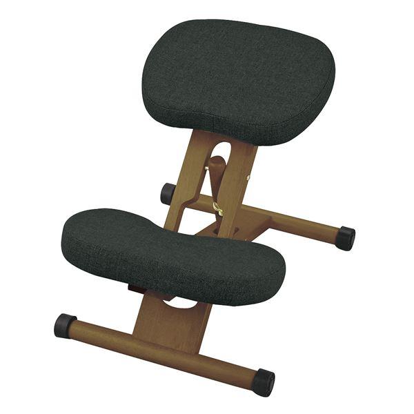 【送料無料】プロポーションチェア(姿勢矯正椅子) 木製(天然木) 座面高さ調整可/キャスター付き ダークブラック(黒)【代引不可】