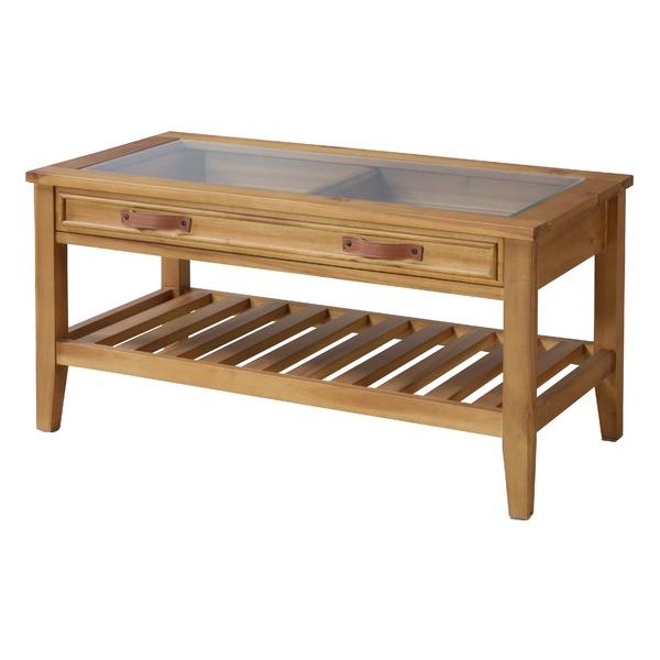 【送料無料】天然木 コレクションテーブル/ローテーブル 〔幅90cm〕 引き出し・収納棚付き 強化ガラス 木目調【代引不可】