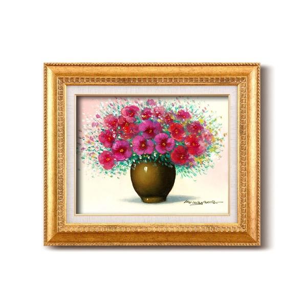 【送料無料】油絵額/フレームセット 〔F6号〕桑山茂「赤い花」 460×552×55mm 金フレーム 化粧箱入り【代引不可】