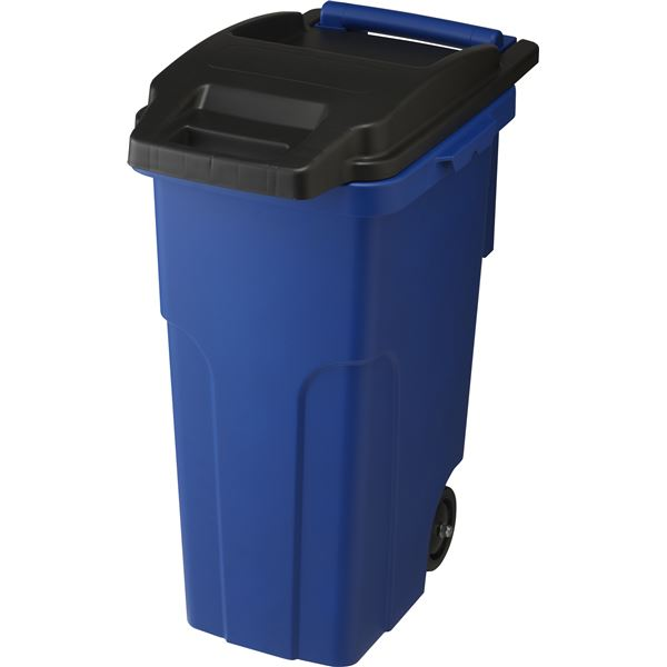 〔4セット〕 可動式 ゴミ箱/キャスターペール 〔45C2 2輪〕 ブルー フタ付き 〔家庭用品 掃除用品〕【代引不可】