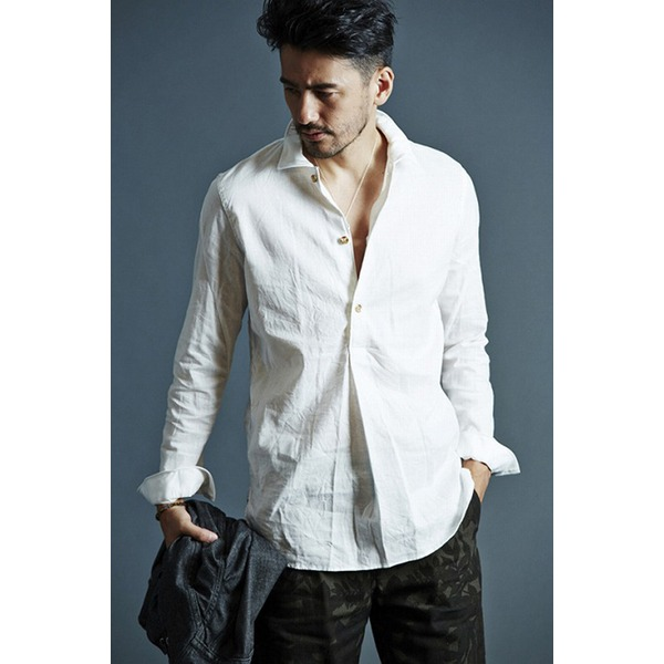 VADEL swedish pull-over shirts WHITE サイズ46【代引不可】【北海道・沖縄・離島配送不可】