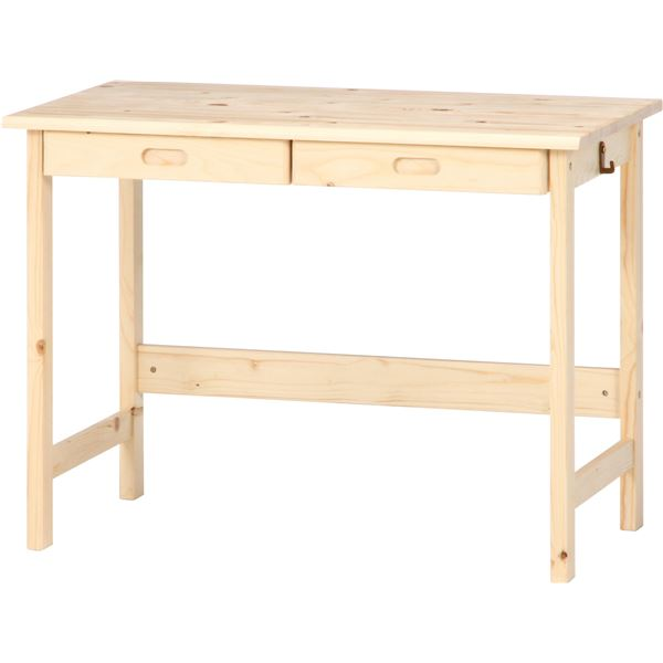 【送料無料】シンプルデスク/マルチテーブル 〔ナチュラル〕 幅100cm 引き出し2杯 フック付き 木製 【代引不可】