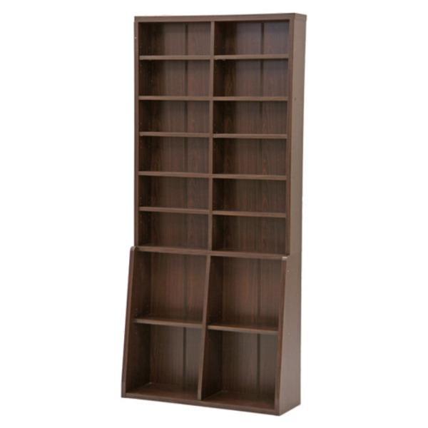 【送料無料】レトロ調 本棚/書棚 〔8段×2マス〕 ダークブラウン 幅90cm 【代引不可】
