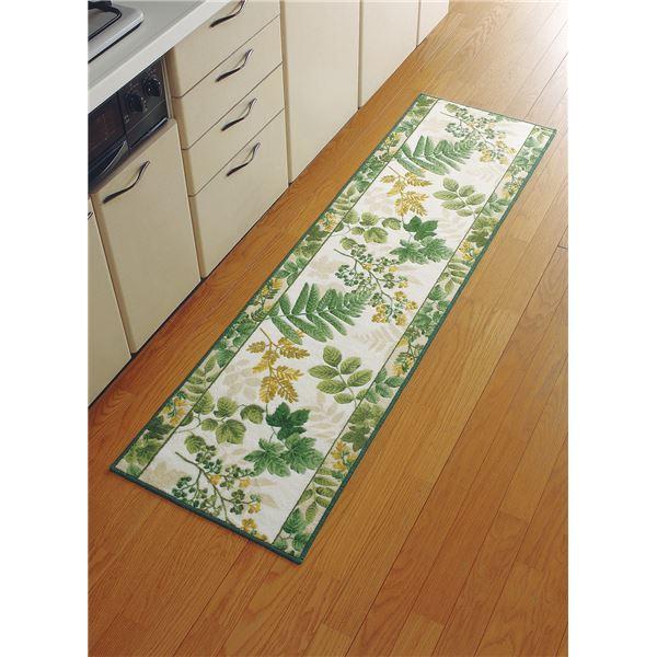 【送料無料】洗えるキッチンマット 〔ロング 50cm×240cm〕 南洋柄 日本製 グリーン(緑) 〔速乾 抗菌 防臭 吸水 滑り止め加工〕【代引不可】