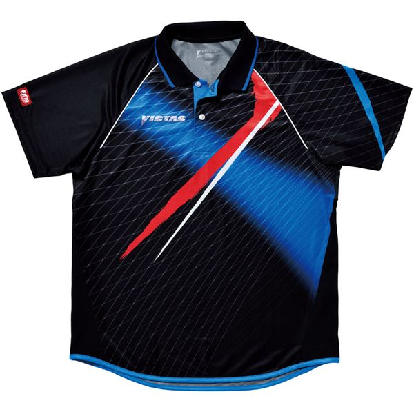 ヤマト卓球 VICTAS(ヴィクタス) 卓球アパレル V-SW035 Viscotecs ゲームシャツ(男女兼用) 031458 ブルー Sサイズ【代引不可】
