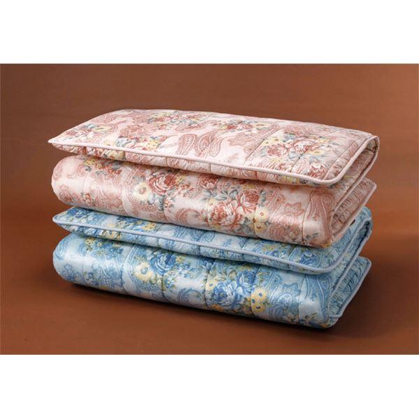 【送料無料】〔ブルー単品〕ボリューム羊毛4層式敷布団 ダブル 防ダニ・防臭・抗菌加工【代引不可】