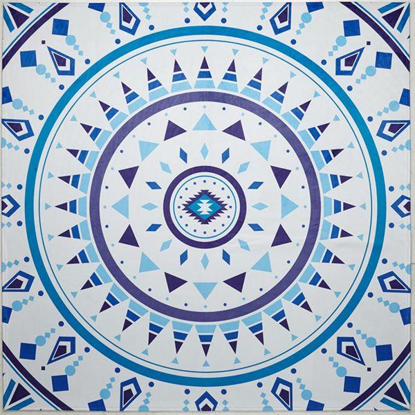 リゾートテイストプリントラグ〔カーペット・絨毯〕 ブルー 約185×185cm【代引不可】【北海道・沖縄・離島配送不可】
