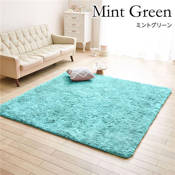 【送料無料】ボリュームシャギー ラグマット/絨毯 〔ミントグリーン 約180cm×285cm〕 防音 ホットカーペット可 〔リビング〕【代引不可】
